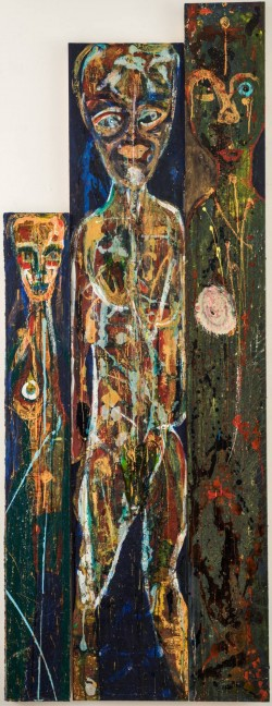 Visiting Figures – Tryptich Panel;  191.5x71.9x2.4cm;  acrylic & ink on board