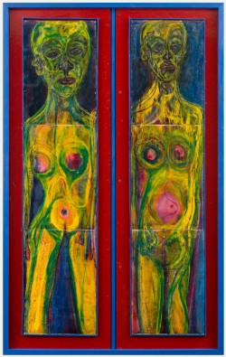 Thetwomen;  141.2x90.2x2.5cm;  oil pastel on paper fixed to board